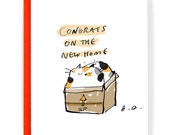 New Home Card - Congrats on the New Home - Cat Card - Calico