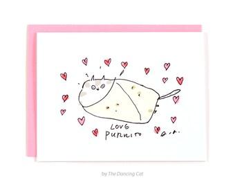 Love Purrito - Funny Cat Card - Love Card