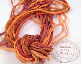 Hand Dyed Silk Ribbon - Silk Cord - DIY - Jewelry Supplies - Wrap Bracelet - Craft Supplies - 2mm Silk Cord Strands Orange Copper Pumpkin