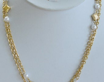"""Pretty Vintage Faux Pearl, Gold tone Beaded Chain Necklace, 36"""" (W3)"""