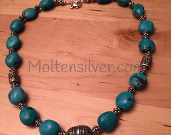 Chinese Turquoise Nuggets and Bali Sterling Silver Necklace
