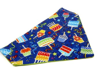 Happy Birthday -  Festive Birthday Cake Cupcake Cotton REVERSIBLE Dog Bandanna - Choose Your Size