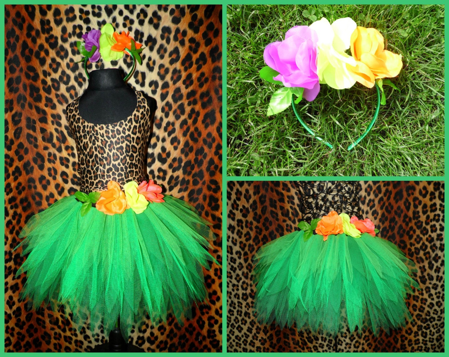 Girls Katy Perry Roar Costume Jungle Tutu Green Forest Fairy
