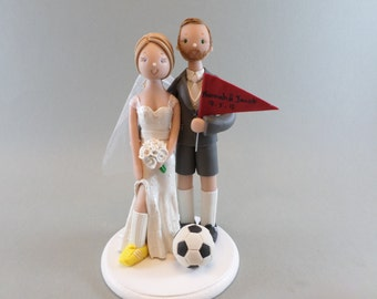 Bride & Groom Soccer Fans Custom Made Wedding Cake Topper