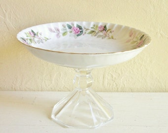 SALE - Floral Scalloped Edge Fine China Bowl Buffet Pedestal Stand