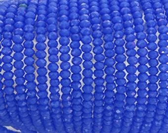 3x2mm Faceted Opaque Medium Blue Chinese Crystal Rondelle Beads 7 & 1/2 Inch Strand (3CCS2)