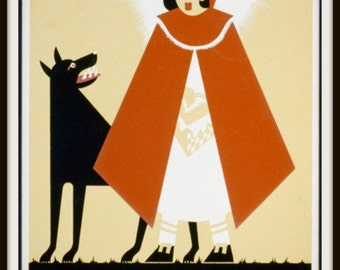 """WPA Little Red Riding Hood Poster """"Once Upon a Time"""" - Giclee Art Print - Big Bad Wolf - Child's Room Decor - Baby Nursery Decor"""