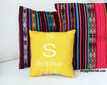Sulphur Science Pillow - Chemistry, Periodic Table of Elements - Sulphur, Carbon, Oxygen, Hydrogen