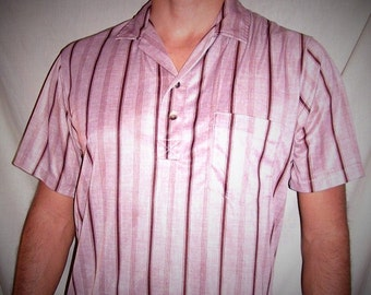 Vintage Don Giovanni California Striped Brown Rust Beige Hipster Shirt L