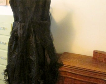 1930s Dress wtih Ostrich Feathers black Lace and Tulle small Vintage Ostrich Feather Dress