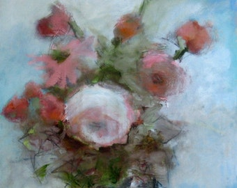 """Oil, Acrylic and Mixed Media Original, """"Golightly,"""" a Still Life Floral Painting - 16 x 20 x .75"""