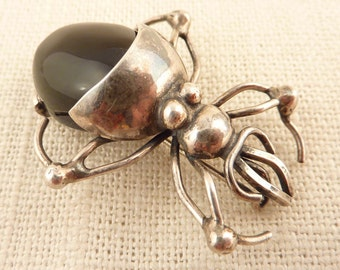 Handmade Vintage Sterling Spider Brooch with Onyx Stone Abdomen
