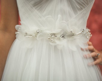 Organza Magnolia Flower Bridal Belt - Crystal Flower Bridal Sash - Hand wired Flower Hair Crown