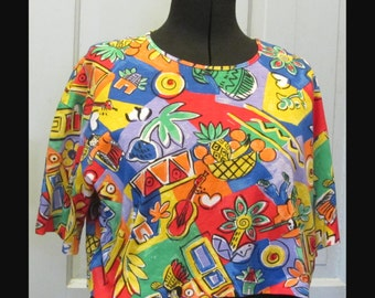 Hawaiian Crop Top Syle Shirt Vintage 1980's by Lucky Winner