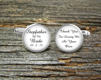 Stepfather Of Bride Silver or Gold-Cufflinks-Wedding- Cufflink Box-Jewelry Box-Keepsake-Gift-Man gift-Step-Father-Thank you For Loving me