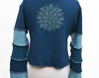 Upcycled Sweater Jacket Cropped Mehndi Henna Embroidery Unique OOAK Teal Wool Sweater Elf Pixie Sleeves