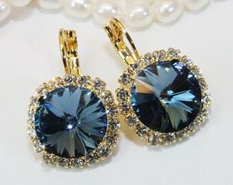 Navy Crystal Earrings Navy Gold Drop Earring Navy Swarovski Crystal Earrings Navy Wedding 14mm Clear Diamond like Halo,Gold,Denim Blue,GE110