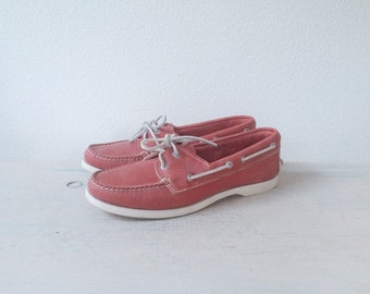 vintage boat shoes / leather deck shoes / Glory Red leather Lace ups
