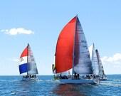 Sailboat Art, Nautical Wall Decor for Men, Red White Blue Sailboat Print,Nautical Beach Decor,Red Sail Coastal Wall Art,Sailboat Photography
