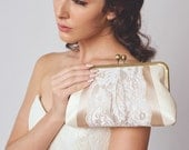 Bridal Clutch | Lace Purse | Ivory Clutch | Wedding Clutch [Macaron Clutch: Ivory and Latte]