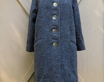 Mid Century vintage Blue and Cream Flecked Charcoal Grey Woven Wool Coat
