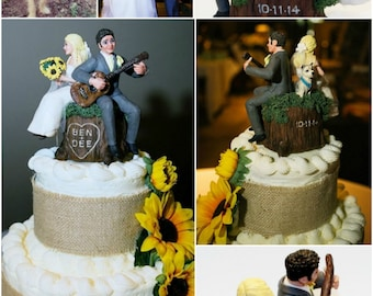 The Happy Couple and Kids and Pets and Guitars and  Whatever Else you Want  on a Tree Stump Wedding Cake Topper