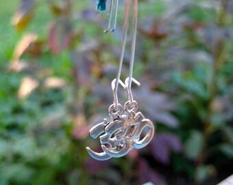 Om symbol silver finish earrings