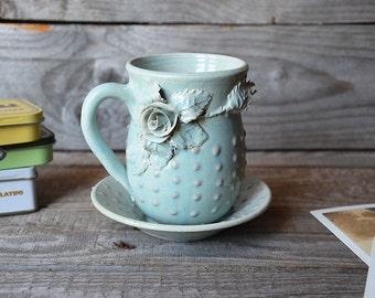 Stoneware Tea Cup  and saucer  with roses Handmade Ceramics  - MADE TO ORDER - Stoneware  - light blue - mug