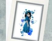 """Art Card & Envelope - Blue - Big Eyed Girl - Butterflies - """"Bluebell"""""""