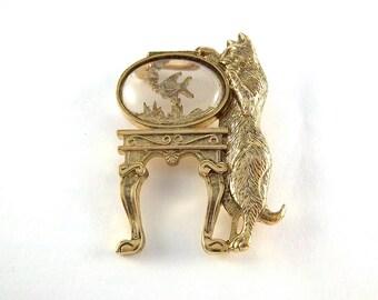 Vintage Cat Brooch - 1928 Jewelry Fish Bowl Brooch