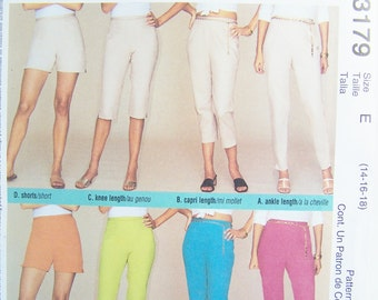 McCall's 3179 Easy Sewing Pattern, Misses' Summer Pants, Shorts, Capris, Cropped Pants with Hem Slits, Size 14 - 18, Pattern Destash UNCUT