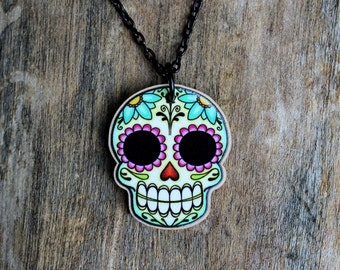 Sugar Skull and Daisies Day of the Dead Celebration Necklace
