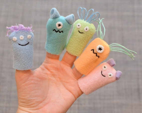 Monster Finger Puppets, Pastels (5-pack)