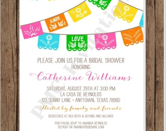 Custom Printed Mexican theme Flags Bridal Shower Invitations - Bridal Party Invitation - 1.00 each with envelope