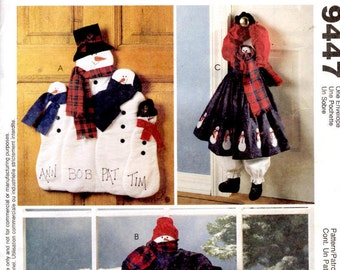 McCall's Crafts 9447 Sewing Pattern - Snowman Wall or Door Hanging and Door Draft Stopper - Snowmen Christmas Decor