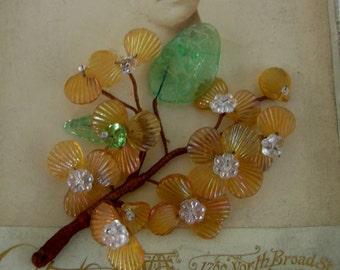 Vintage Glass Flower Spray - Rare Millinary Supply - Handmade Early 1900's