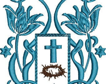 Relligious Floral machine embroidery design Jewish to Christ