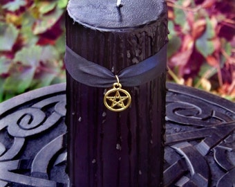 WITCHING HOUR Old European Witchcraft Black Pillar Candle w/ Gold Pentacle on Silk, Rich Dark Vanilla, Black Amber, Musk, Spices 3x6