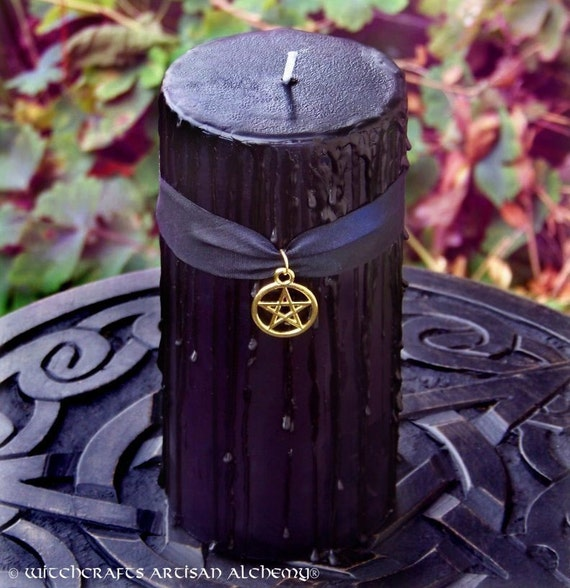 """WITCHING HOUR """"Old European Witchcraft""""™ Black Pillar Candle with Golden Pentacle on Silk, Sandalwood, Amber, Patchouli, Musk and More, 3x6"""