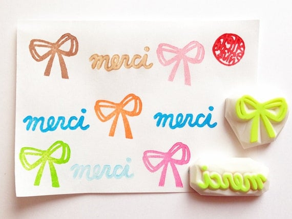 merci and ribbon hand carved rubber stamp. handmade stationery. gift wrapping. thank you card making. set of 2. handmade by talktothesun