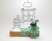 Stuffed animal felt mouse  felt plush green matchbox fox