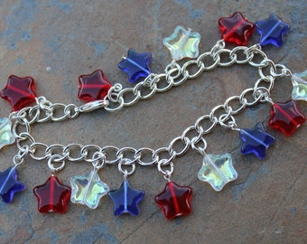 Red white and blue stars charm bracelet - patriotic colors  -Free Shipping USA