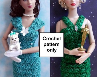 Crochet pattern (PDF) for 16-inch fashion doll - 1950s style daytime frock/cocktail dress - See photos for all dolls it fits!