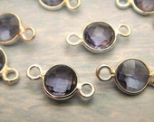 14x7mm Iolite Bezel Connector, 7mm Gemstone Links, 925 Sterling Silver Double Sided Faceting, BULK WHOLESALE