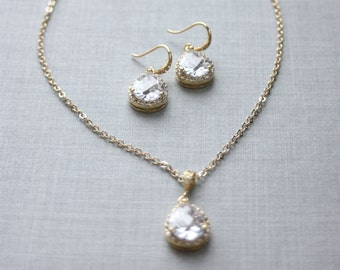 Gold Plated LUX Cubic Zirconia Wedding Jewelry, Bridesmaids Gifts, Bridal Necklace Clear White LUX Cubic Zirconia Gold Plated Jewelry Set