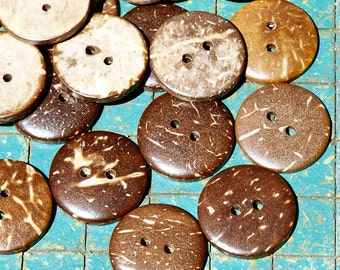 32 Coconut Buttons, 3/4 inch, aloha shirt buttons, sewing, crafts, scrapbook