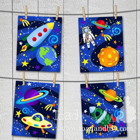 Set of 4 Blast Off Boys Bedroom Outerspace 8x10 Art Prints