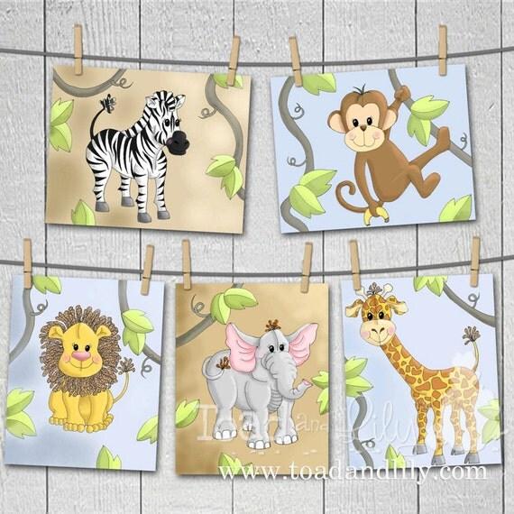 Owls Jungle Animals Wooden Bedroom Furniture Kids: Set Of 5 Jungle Animal YOU CHOOSE Baby Nursery Kids Bedroom