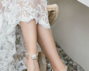 Bridal Barefoot Sandals ,Bridal Sandals ,Pearl Crystal Barefoot Accessories, Bohemian Wedding, Barefoot Shoes
