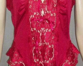 Vintage Alana Gale Nylon Lace Teddy Romper Lingerie Large Lacy Crimson